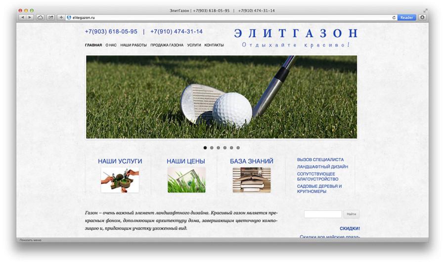 Сайт компании «Элитгазон»